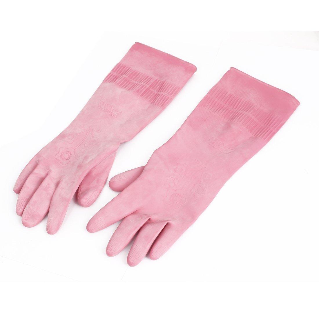 eDealMax de goma de limpieza Guantes de la cocina Para Lavar la vajilla 35cm x 12cm par Pink