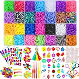 11750+ Rainbow Rubber Bands Refill Kit, 11,000 Loom Bands, 600 S-Clips, 52 ABC Beads, 30 Charms, 10 Backpack Hooks, 80 Beads, 5 Tassels, 5 Crochet Hooks, 3 Hair Clips, ABC Stickers By INSCRAFT