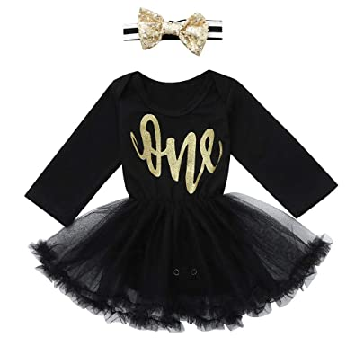 c5d884884cba Janly Baby Clothes Set, Girl Letter Print Romper Mesh Dress + Headbands  Toddler Long Sleeve