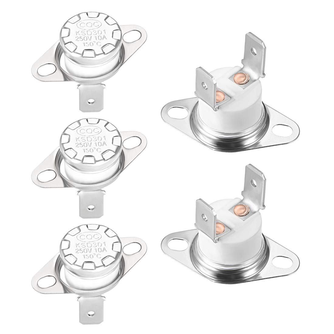 uxcell KSD301 Thermostat 150°C 10A Normally Closed N.C Adjust Snap Disc Limit Control Switch Microwave Thermostat Thermal Switch 5pcs