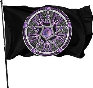 GAJAJAYZXN Purple Wicca Wiccan Star Pentagram Pentacle Garden Flag Patry Flag Outdoor Flag Garden Flag Outdoor Yard Flag Wall Lawn Banner Home Flag Decoration 3' X 5'