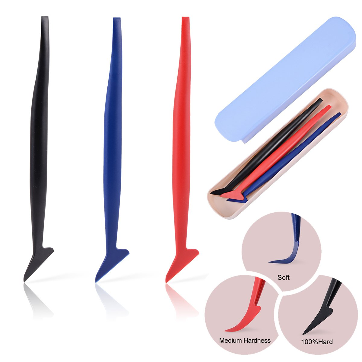 Ehdis 3 in 1 Micro Mini Squeegee Vinyl Wrap Graphic Application Tucking Molding Tool for Film into The Smallest Gaps