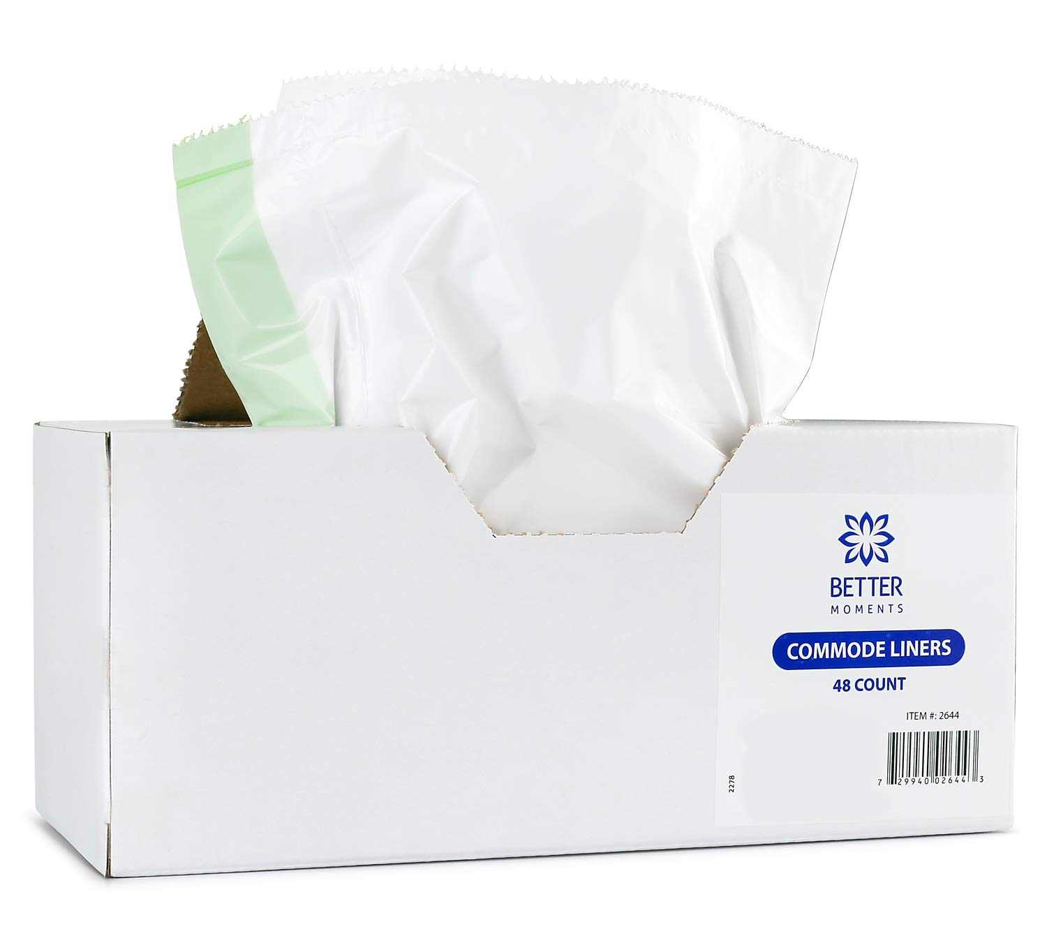 Commode Liners By Better Moments – Leak Proof & Sanitary Bedside Commode Liners – Disposable Commode Liners Fit Standard Commode Pails & Adult Commode Chairs – Value Pack Of 48 Portable Commode Liners
