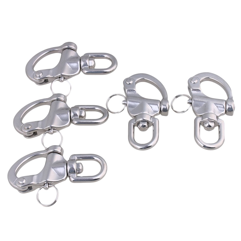 Mxfans 5Pieces 87x42mm 304 Stainless Steel Durable Swivel Snap Shackle Medium Size