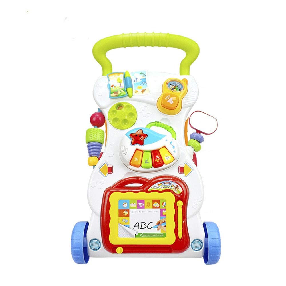 Ybriefbag-Toys Baby Three-in-one Activity Walker Baby Sitting Posture Learning Walker Trolley Baby Early Education Exercise Limb (Color : White, Size : 423445CM)