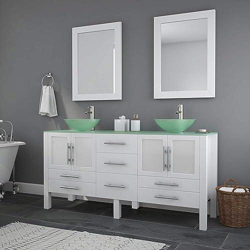 63 Inch White Wood Glass Double Sink Bathroom Vanity Set