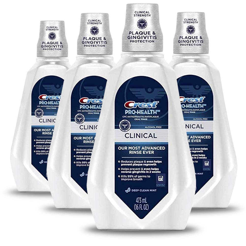Crest Pro-Health Clinical Mouthwash, Gingivitis Protection, Alcohol Free, Deep Clean Mint, 473 Ml, 4 Count by Crest