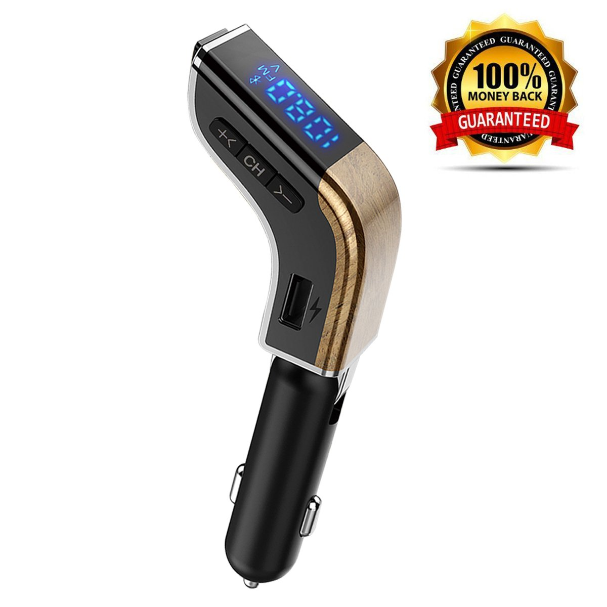 LUTU Mini Bluetooth FM Transmitter Car, Wireless in-Car Radio Adapter Car Kit Battery Voltage Display, Support Handsfree Calling 2 USB Charger 3.1A, TF Card Slot USB Driver (Grain)