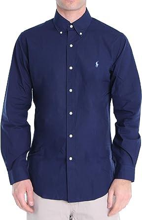 Polo Ralph Lauren Mod. 710792044 Camisa Popelín Stretch Custom Fit Hombre Azul M: Amazon.es: Ropa y accesorios