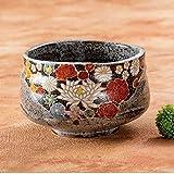 Japanese Matcha Bowl Gold Flower Kutani Yaki(ware)