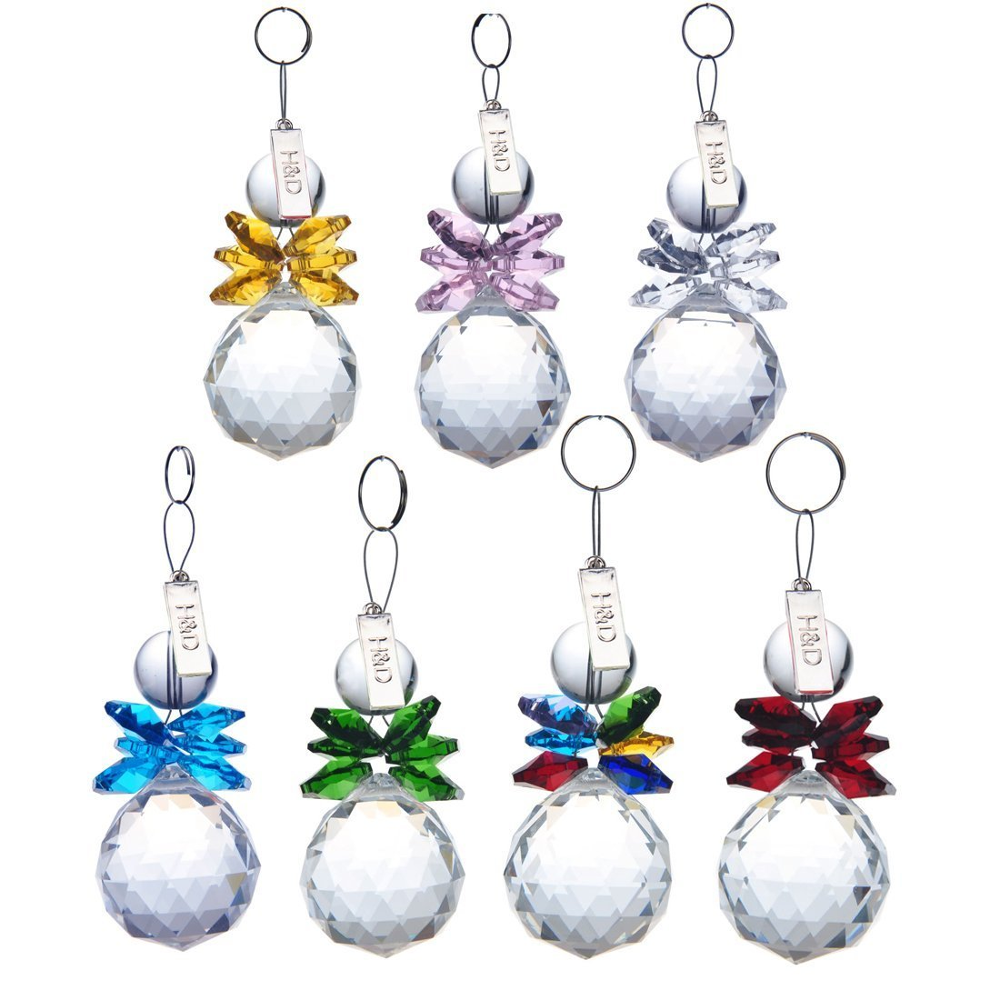 H&D 7pcs Clear Crystal Ball Pendant Hanging Suncatcher Handcrafts Christmas Glass Ornaments