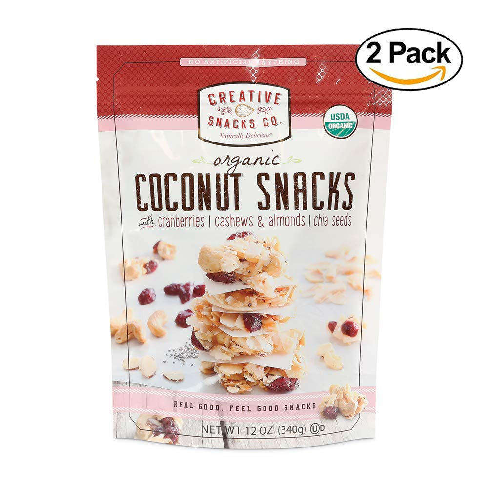Creative Snacks Naturally Delicious Organic Coconut Snacks with Cranberries and Nuts, 2 Pack, 12 Ounce Resealable Bags