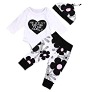 OUTGLE Newborn Baby Girl Toddler Heart Romper + Floral Trousers + Hat Clothing Set Autumn Outfits