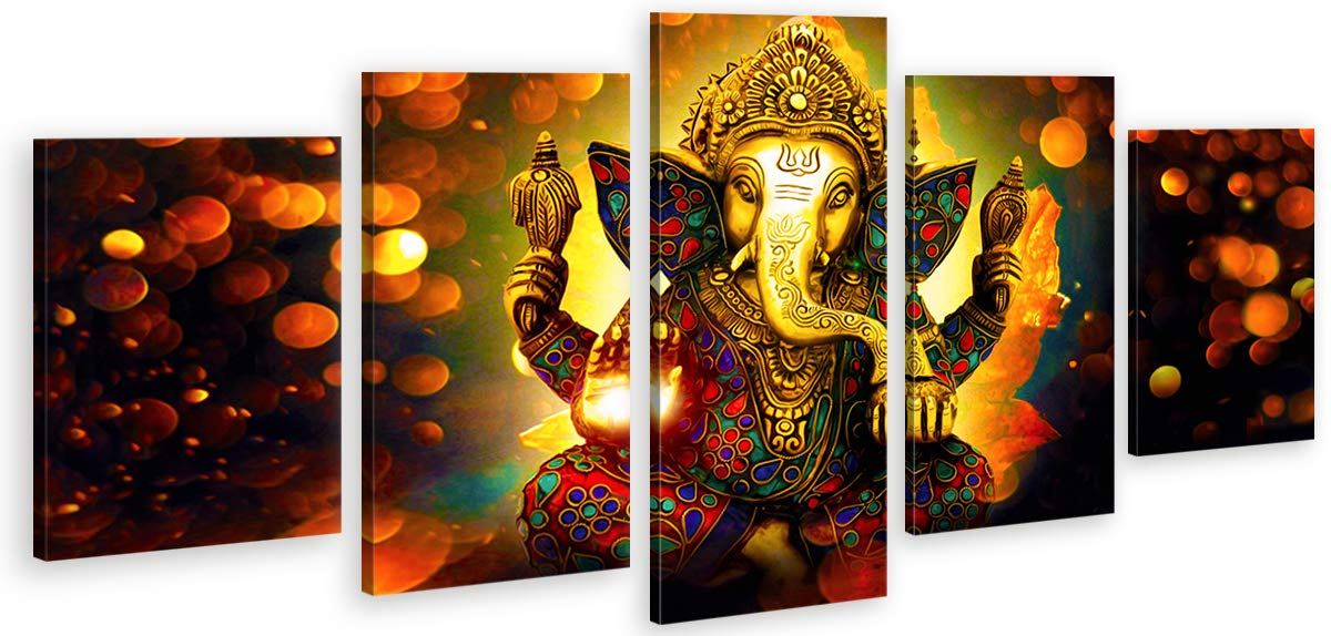 DJSYLIFE-Extra Large Premium Quality Picture Canvas Wall Art,5 Pieces Hindu God Ganesha Art Wall Home Decor HD Print Home Wall Hanging Art Prints Modular Pictures,Ready to Hang (80''Wx40''H)