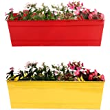 TrustBasket Set of 2 - Rectangular Railing Planter - Red and Yellow (18 Inch)