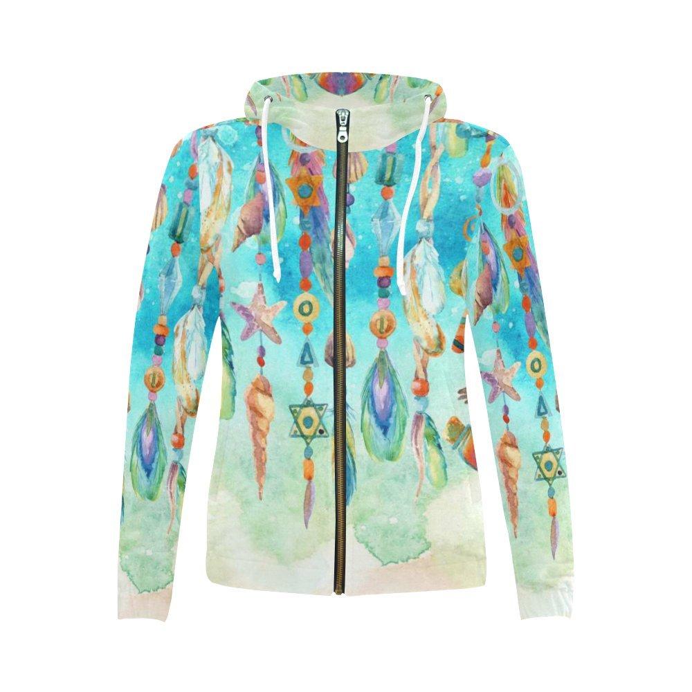 InterestPrint Custom Watercolor Hanging Jewellery With Sea Shells Women's Zipper Hoodies Sweatshirt XS