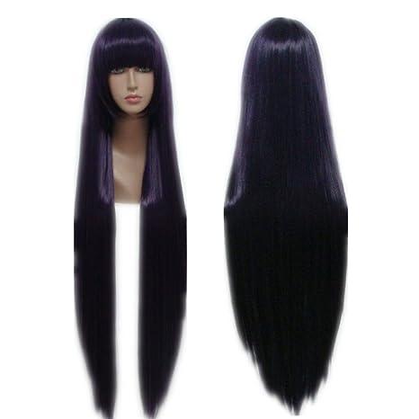 COSPLAZA Cosplay peluca larga recta color morado Anime pelo sintético peluca