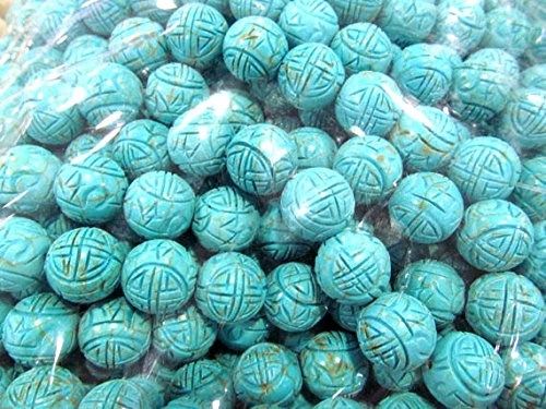 A+ 8-16mm Natural Turquoise Gemstone Round Ball Carved Loose Beads strand 16