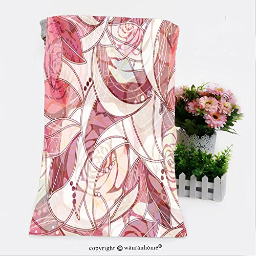 VROSELV Cotton Microfiber Bathroom Bath Towel-abstract flowers seamless background roses pattern flowers wallpaper for phones web cards Custom pattern of household products(9.8