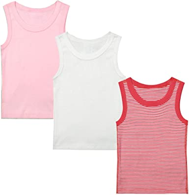 Niños Bebé T-Shirt Sin Mangas Pack de 3 Niños Niñas Camisa de Algodón Conjunto de Ropa 1-4 Años