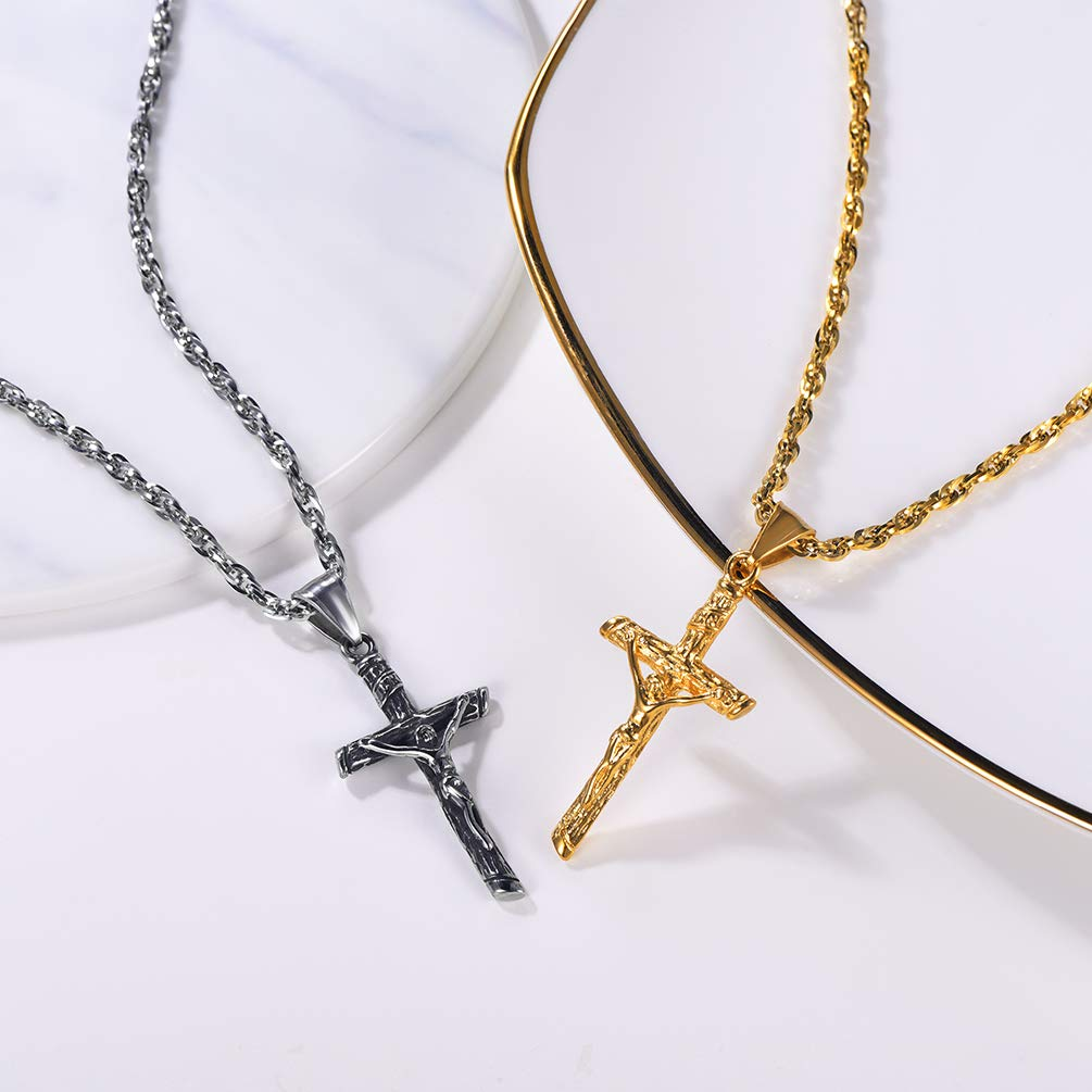 Religious Crucifix Christain Jewelry PROSTEEL Jesus Cross Necklace Stainless Steel Black//Blue//Rose Gold//18K Gold Plated Womens Mens Jewelry