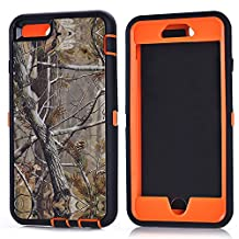 "MOONCASE iPhone 6S Plus Case, [Realtree Camo Series] 3 Layers Heavy Duty Defender Hybrid Soft TPU +PC Bumper Triple Shockproof Drop Resistance Protective Case Cover for Apple iPhone 6 Plus / 6S Plus 5.5"" -Orange Tree"