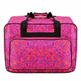 sewing machine cover fabric - Creine Universal Sewing Machine Tote Bag, Waterproof Padded Storage Cover Carrying Case with Pockets and Handles for Janome, Singer, Brother, Pfaff, Husqvarna Viking, and More (US STOCK) (Rose Red)