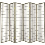 Oriental Furniture 6-Feet Window Pane Japanese Shoji Folding Privacy Screen Room Divider, 6 Panel Grey