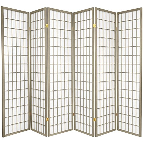 Oriental Furniture 6 ft. Tall Window Pane - Special Edition - Grey - 6 Panels (Dividers Screen Oriental)