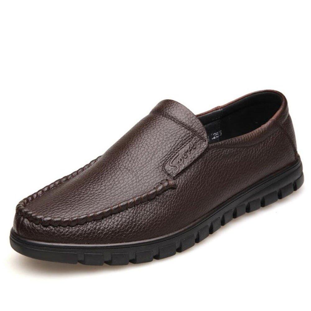 Herren Loafers  SlipOns/Lederschuhe/weisshe Unterseite/weisshe Oberfläche/Casual/Herren Schuhe/Täglich/Reisen/Leichte Fahr Schuhe (Farbe : Braun  Größe : 39) Braun