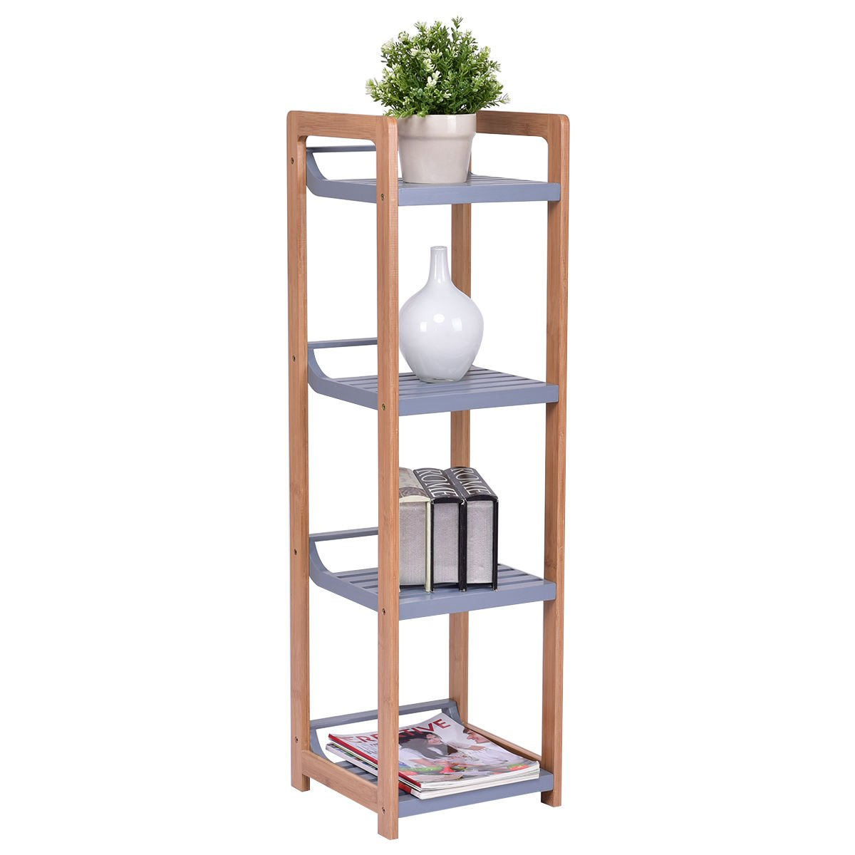 totoshop Multifunction Storage Tower Rack Shelving Shelf Units Stand Bamboo New 4 Tier by totoshop (Image #7)