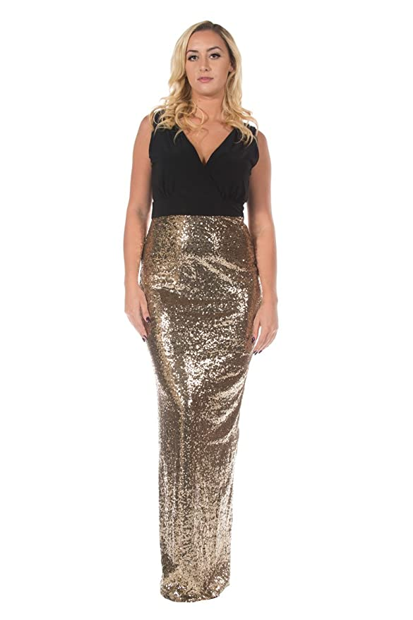 Women\'s Gold Sequin Skirt Black Special Occasion Evening Formal Gown ...