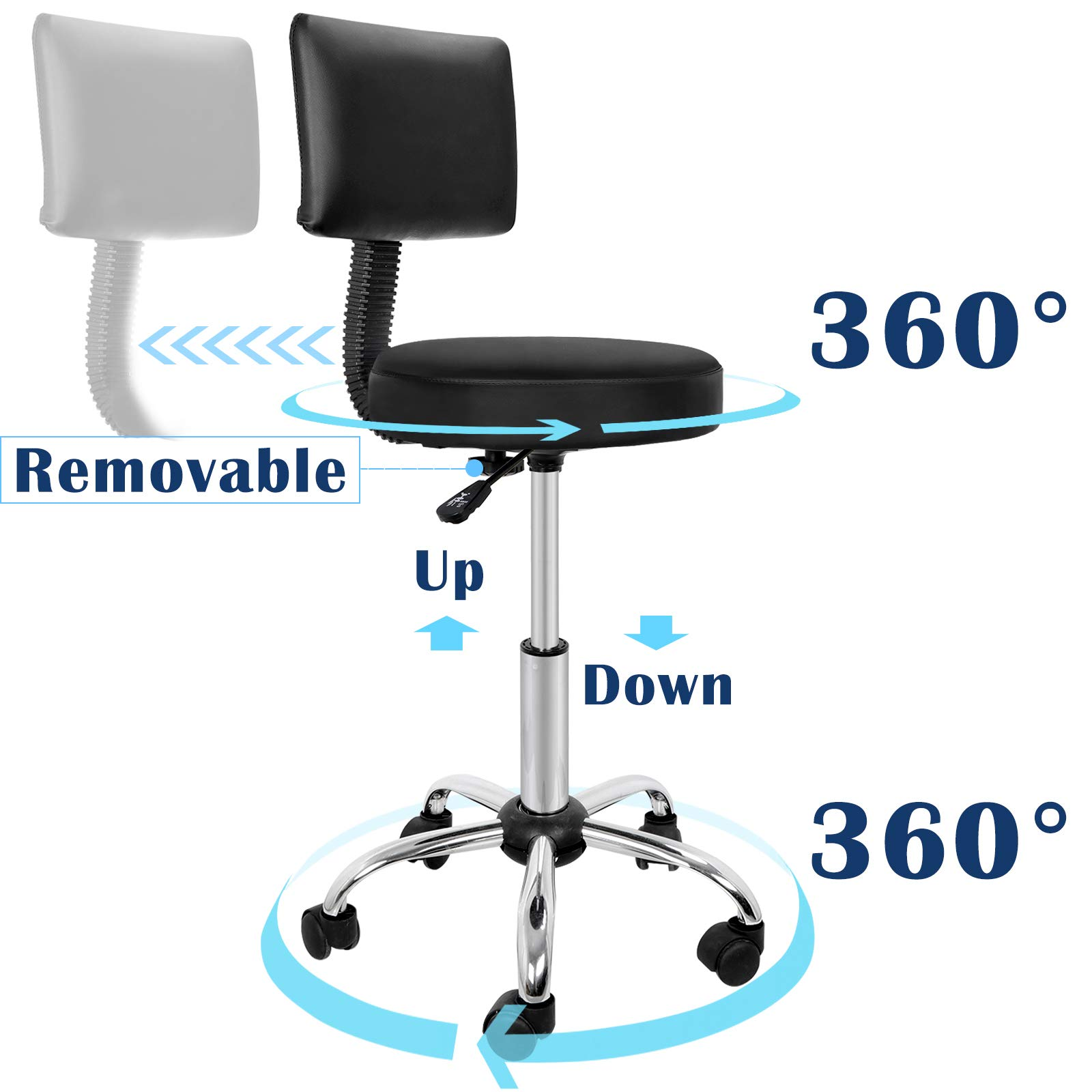 Adjustable Hydraulic Rolling Swivel Salon Stool Chair Tattoo Massage Facial Spa Stool Chair With Back (PU Leather Cushion)