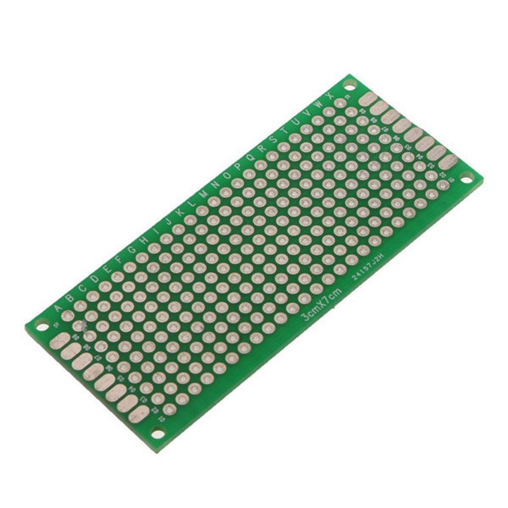 SODIAL(R) 4pcs Doble-Lado Prototipo FR-4 PCB Stripboard universal tarjetas de circuitos impresos 3 * 7cm Tamano
