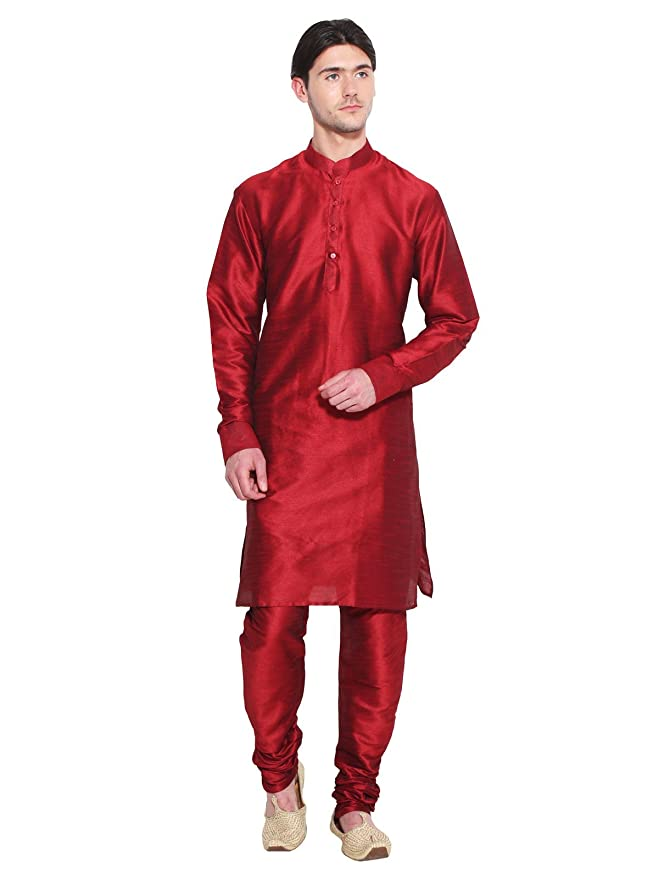 Bollywood Designer Mens Kurta Pajama Set Red Ethnic Indian Party Wear For Men at Amazon Mens Clothing store: