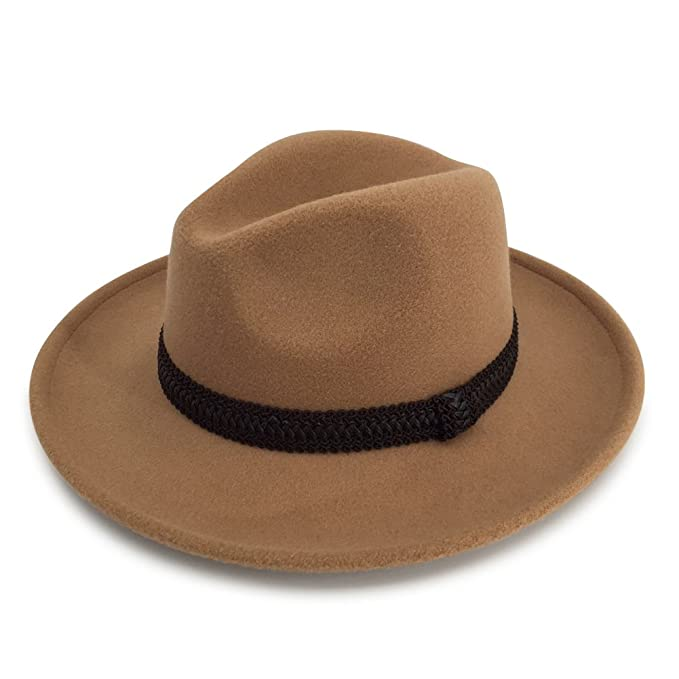 Men s   Women s Wide Brim Fedora Felt Hat With A Band (CAM) at ... e01728adcf1