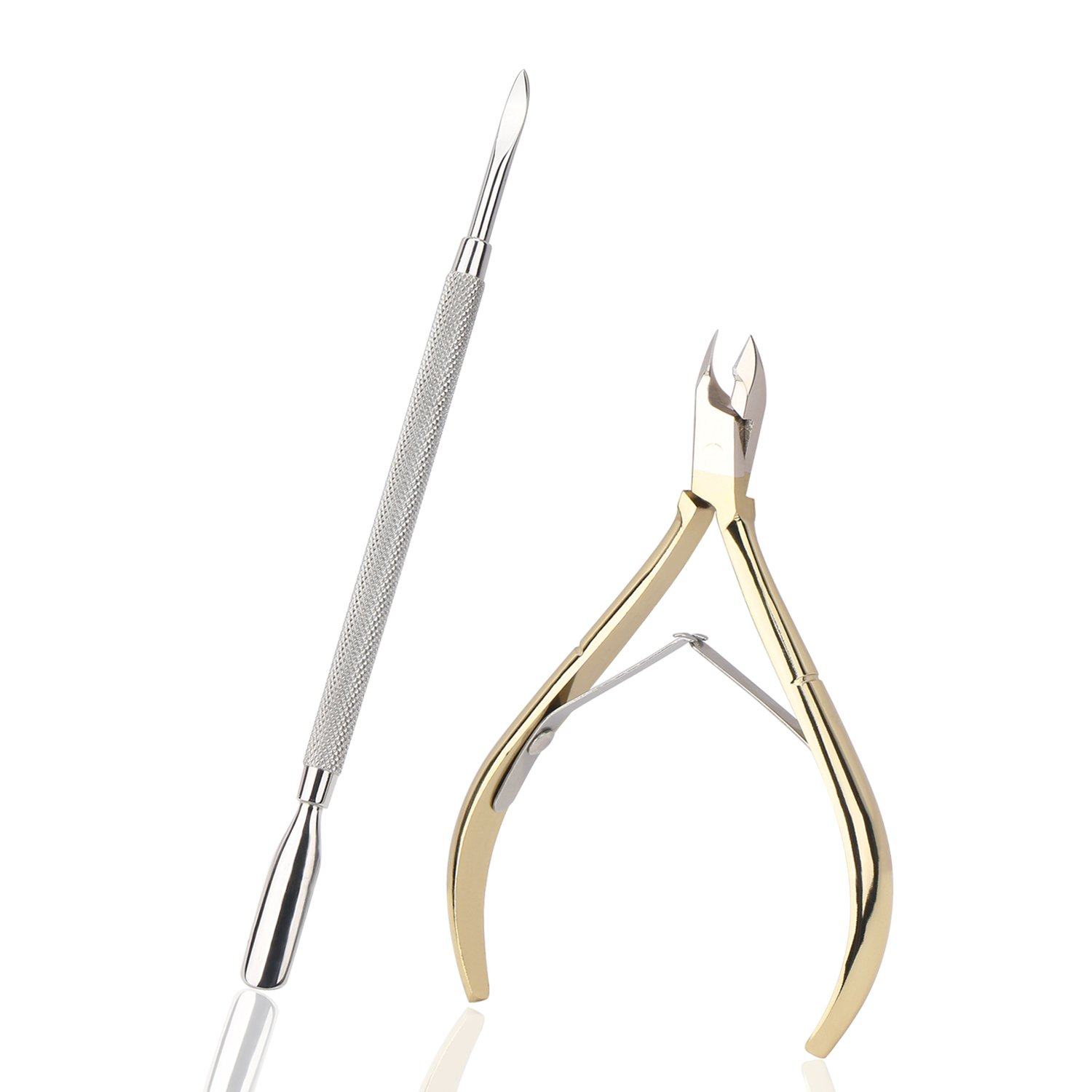 "Gold Plated Cuticle Nipper, Cuticle Pusher Cleaner, Manicure 1/4"" Jaw Cuticle Cutter Pedicure Tools, Nail Clippers Remove Hangnail Dead Skin for Nail Salon Segbeauty"
