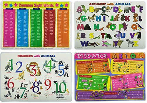 Kids Learning Placemats: Alphabet, Sight Words, Phonics, Numbers -Set of 4 Educational Table Mats for Toddlers, Preschool, (Number Words Chart)