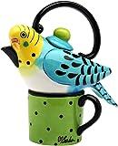 Appletree 7-1/4-Inch Ceramic Blue Parakeet Tea For One
