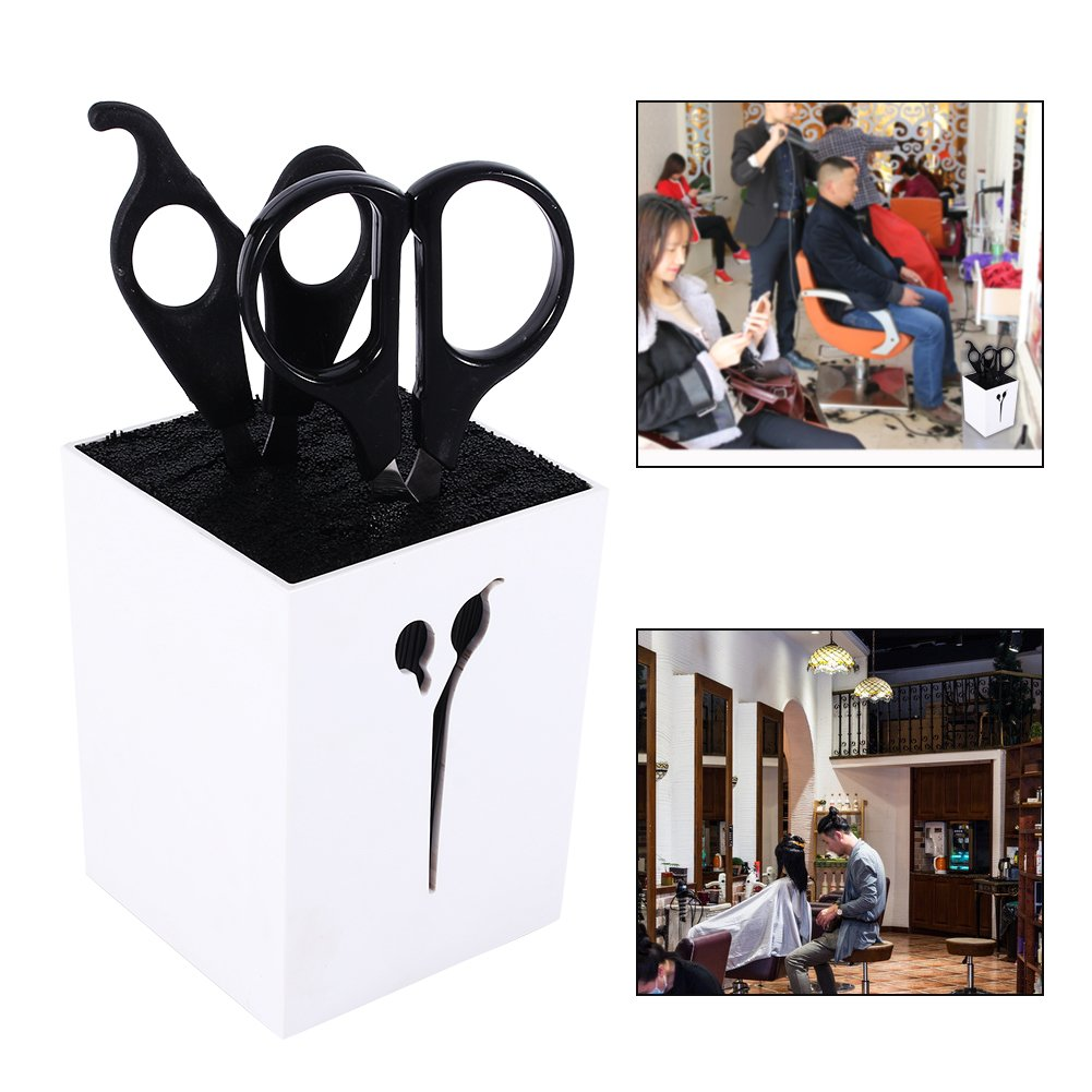 Salon Scissors Rack Hairdressing Scissors Holder Case Hair Clips Storage Organizer Box Pot Hair Styling Tool (White) by ZJchao (Image #5)