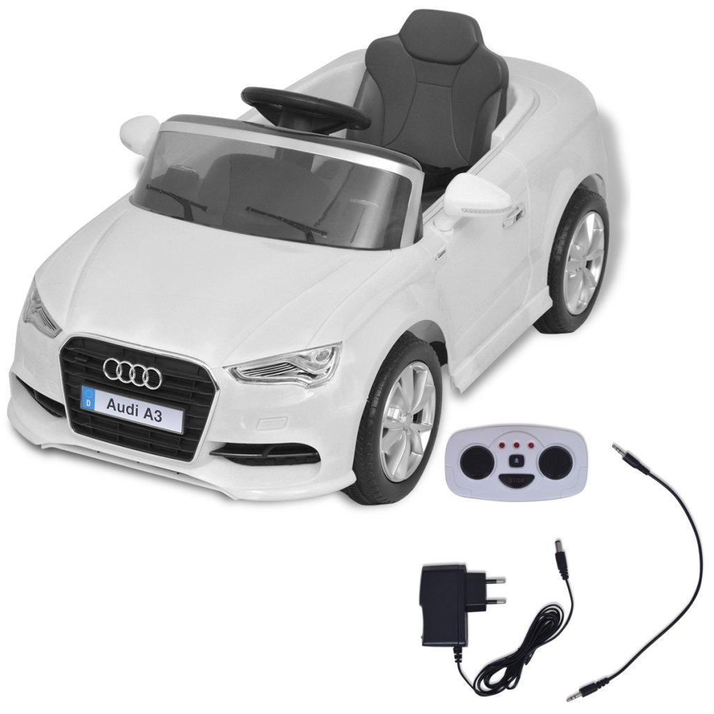 Festnight Coche Elé ctrico con Control Remoto Audi A3 - Color de Blanco Material de Plá stico