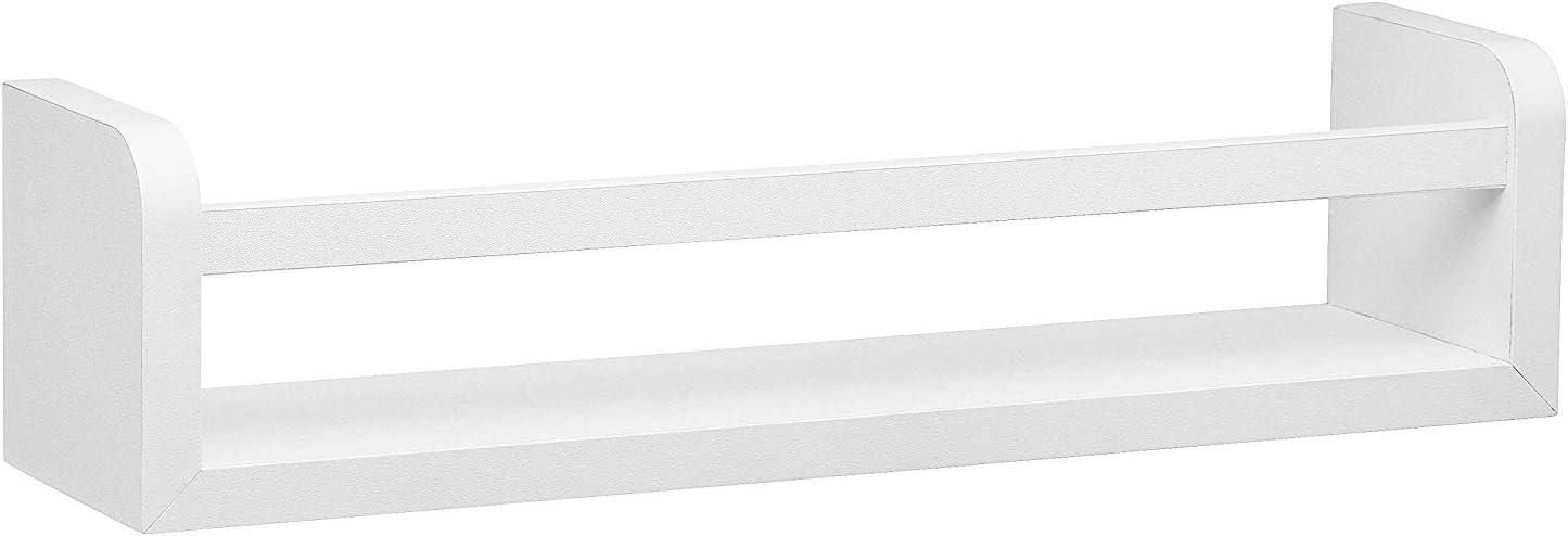 Halter Floating Shelf with Rail Frame, Multipurpose Organizer; Decorative Hanging Shelf, White