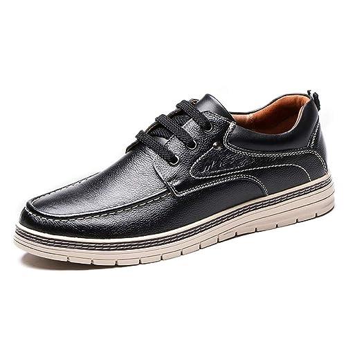 22dee14377e9 LXLA- Men's Casual Lace Up Leather Shoes Comfortable Plain Toe ...