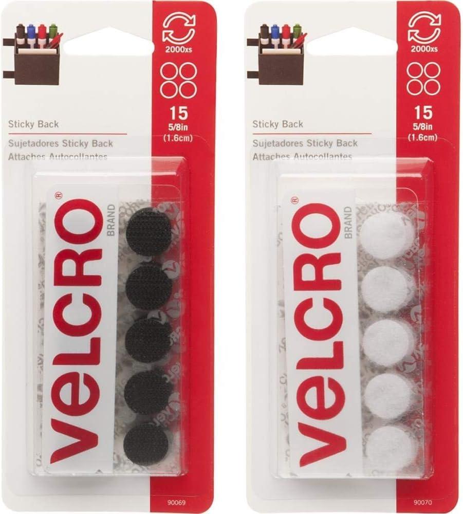 Cinta adhesiva de velcro Monedas 16 mm blanco y negro