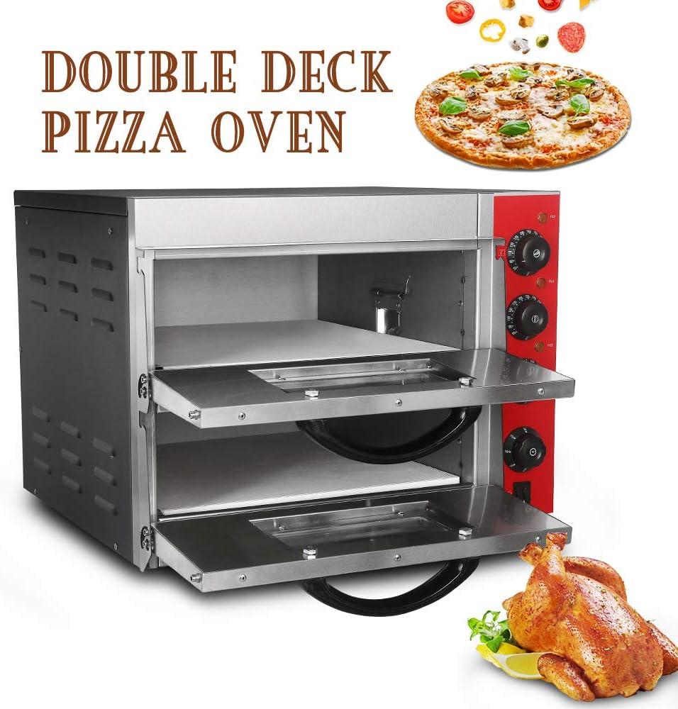 Horno de pizza de doble capa de 3000 W, convección eléctrica, horno de 16 pulgadas, de acero inoxidable, 50 ~ 350 grados