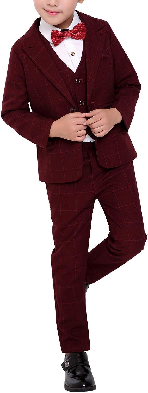 Boys Formal 3pcs Slim Fit Classic Tuxedo Suits for Wedding Party Vest+Pants+Blazer
