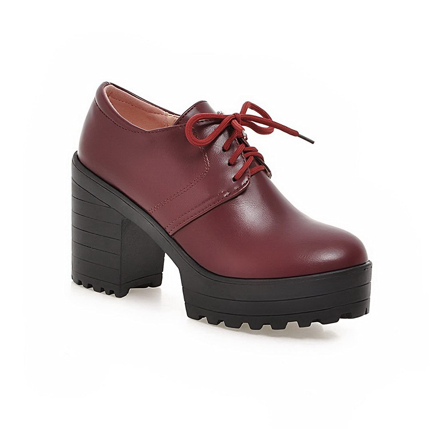 a601ffd2f9f A N Ladies Lace-Up Chunky Heels Platform Red Urethane Oxfords-Shoes - 5.5 B
