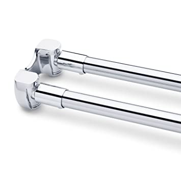 Naiture 60u0026quot;Stainless Steel Curved Double Shower Curtain Rod Chrome  Finish