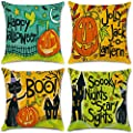 4Pcs Happy Halloween Cotton Linen Pillow Cover Square Burlap Decorative Throw Pillowslip Cushion Cover with Bat Pumpkin Little Witch Element