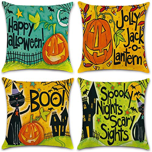 NKIPORU 4Pcs Happy Halloween Cotton Linen Pillow Cover